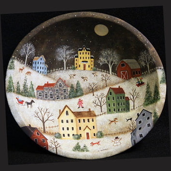 Christmas Folk Art Wooden Bowl, Primitive Painting, Winter Village, Saltbox Houses, Fox, Deer, Snowflakes, Horse Drawn Sleigh, MADE TO ORDER