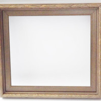 Vintage Two Piece Wood Frame, Double Wooden Frame with Glass in Bronze Color 12x12 10x9 Refinished