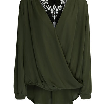 Green V Neck Crochet Lace Back Long Sleeve Chiffon Blouse