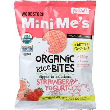 Woodstock Rice Bites - Organic - Mini Mes - Strawberry Yogurt - 2.1 Oz - Case Of 8