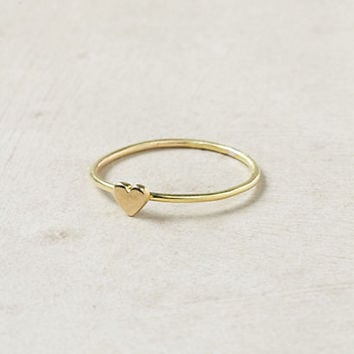 Wee Heart Ring, Brass