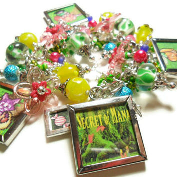 Secret of Mana bracelet with character photo charms and lampwork beads, super nintendo video game jewelry