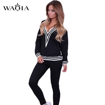 2017 New Women V Neck Tracksuit Brand Suit Hoodies Sweatshirt+Pant Femme Sportswear High Quality Casual Loose tracksuit S-XL
