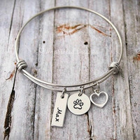 Wire Bangle - Dog Lover Gift - Dog Paw Print Bracelet - Puppy Jewelry - Personalized - Custom - Customized - Dog's Name - Pet - Fur Baby