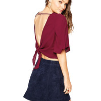 Flared Sleeve Back Tie Top