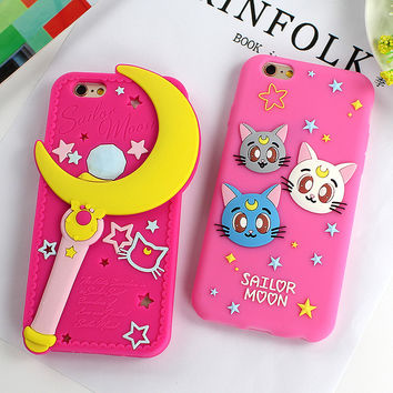 Cute Sailor Moon Cat Silicone Soft Phone Case for iphone 6 6s 5 5s SE Pink Rubber Honey Girls Cover for iphone 6 6s Plus SE 5S