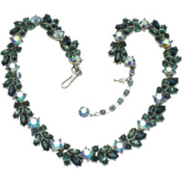 CROWN TRIFARI Shades of Blue Rhinestone AB Choker Necklace
