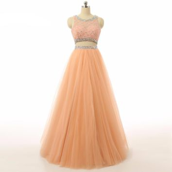 Luxury A line Two Piece Prom Dresses Real Picture Prom Gowns Full Length Tulle Beaded Evening Dresses long