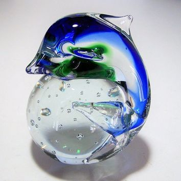 Blown Art Glass Dolphin Paperweight, Blue Green Porpoise, Crystal Ball 118