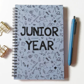 Writing journal, spiral notebook, sketchbook, bullet journal, doodles, high school, college, graduation gift, blank lined grid - Junior year