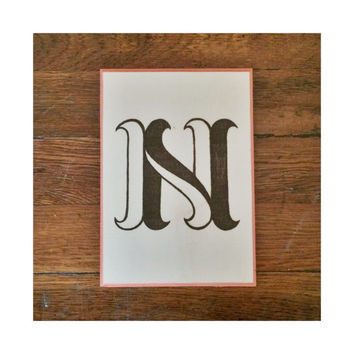 Decorative Wall Letter N Plaque, Woodburning with Painted Border, Custom Wall Letter Monogram Initial Art, Choose Any Letter