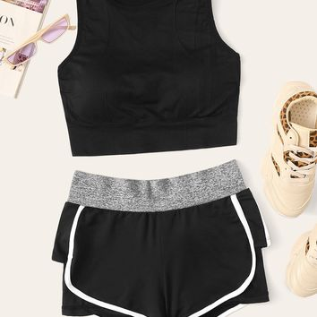 Crop Tank Top & Dolphin Hem Track Shorts Set