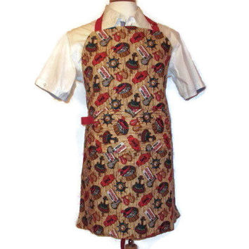 Male Reversible Apron - Clam Bake / Seafood / Blue