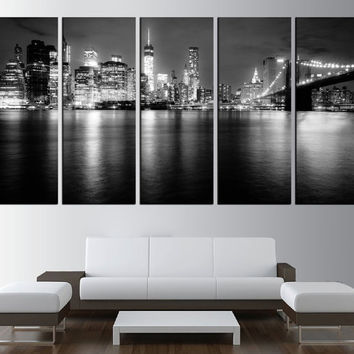 black and white New york skyline wall art canvas print, new york canvas, extra large wall art, large new york skyline ready to hang t455