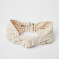 Cream knot front embellished headband - Hats - Accessories - women