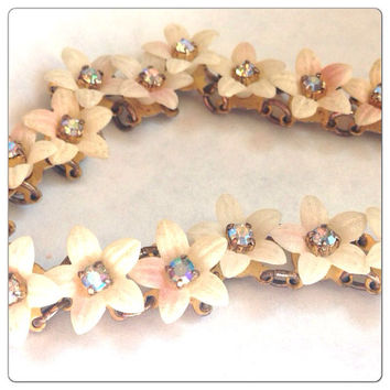 Gorgeous Vintage Blossom Rhinestone Bracelet - Thermoset or Celluloid Aurora Borealis Flower Bracelet - AB - Frosted White - Cream - Pink