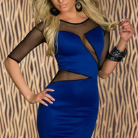 Decolletage Dress with Mesh Babe Blue