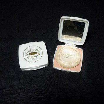 Two, 1960s Vintage Pond's Angel Face Makeup Compacts, New Tawny, White Plastic with Gold Paint, Unused, Vintage Cosmetics, Vintage Vanity