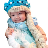 Disney Frozen Elsa Princess Knit Hat with Braids (Small)