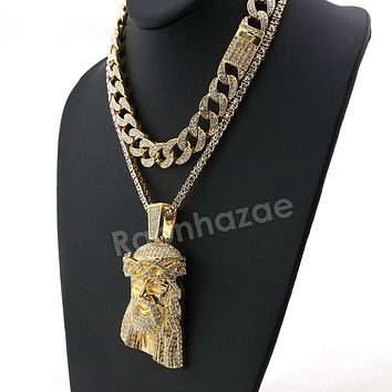 Hip Hop Iced Out Quavo Jesus Face Miami Cuban Choker Tennis Chain Necklace L29