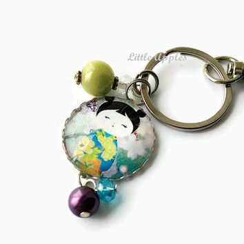Kokeshi keychain, keychain for women, kokeshi girl, washi doll, glass dome jewelry, Asian Japanese, purple green