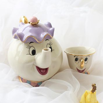 Old Style Cartoon Beauty and The Beast Teapot Mug Mrs Potts Chip Tea Pot Cup One Set Fast Post