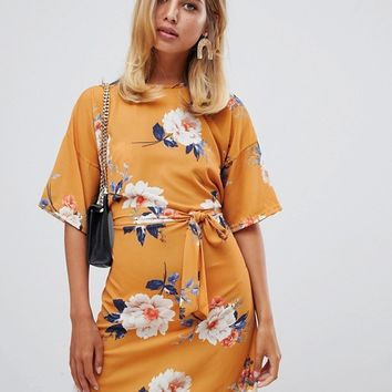 Missguided tie front t-shirt dress in yellow floral at asos.com