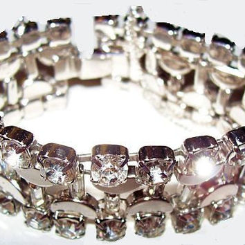 "Kramer Rhinestone Bracelet Champagne Glass Design Silver Metal New Years Eve Holiday 7 1/4"" Vintage"