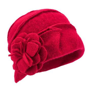 ONETOW Lawliet Solid Color 1920s Womens 100% Wool Flower Winter Bucket Cap Beret Hat A376
