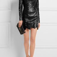 Mugler - Embellished leather mini dress