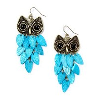 Owl with Neon Feathers Drop Earrings – Claire's
