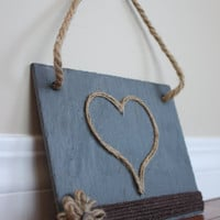 Slate Heart Sign, Wedding decor, Rustic Wedding, Rustic Home Decor