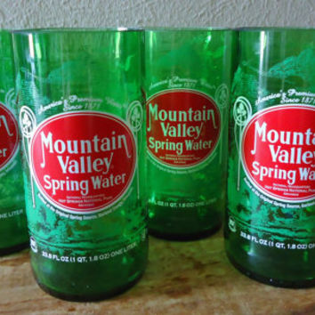 Retro Drinking Glasses made from Recycled Mountain Valley Spring Water Bottles 24 oz Set of 4