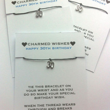 30th birthday bracelet | wish bracelet | friendship bracelet | Gift for 30th | 30th birthday | 30th birthday card | 30th birthday gift