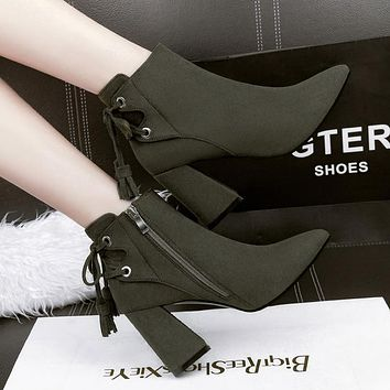 Pointed Toe Back Lace Up Tassels Middle Chunky Heels Short Boots