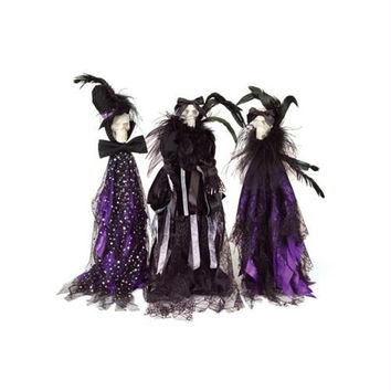 3 Halloween Decorations - Black And Purple