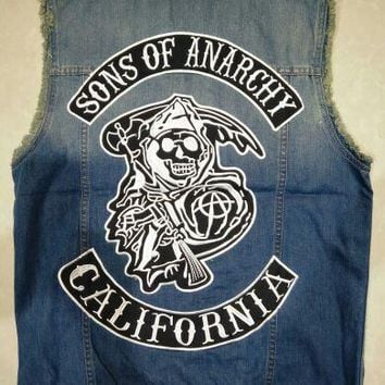 Hot TV Sons of anarchy Embroidery Cowboy Vest Men Waistcoat Denim Vest coat Jacket Jeans Weskit cosplay clothing Motorcycle Vest