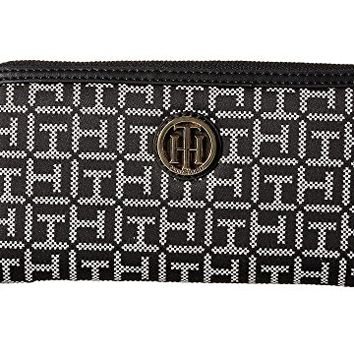 Tommy Hilfiger TH Serif Signature - Monogram Jacquard/Smooth Large Zip Around Wallet