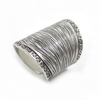 "Sterling Silver Cuff Ring, Adjustable Wide Band Silver ring, Oxidized Black lines pattern,Tribal Ring, Boho Ring,1.2"" Long Ring, Handmade"
