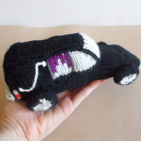 Hearse Knitted Stuffed Toy - Car Soft Toy - Halloween Decor - Halloween Toy - Macabre Decor - Model Car