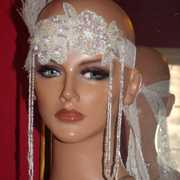 Headband 20s Theme Flapper style Iridescent Sequin Rose Wrap Evening Party 20s Theme