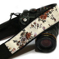 Flowers Camera Strap, Floral Camera Strap, Black Brown Beige Tan Camera Strap, Nikon, Canon Camera Strap, Women Accessories