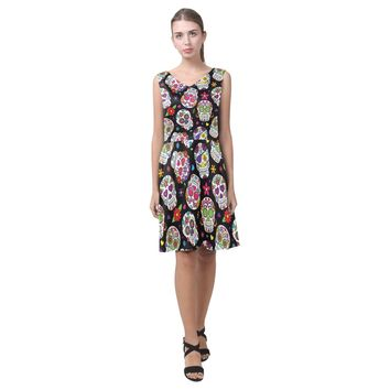 Sugar Skull Sleeveless Pleated Dress