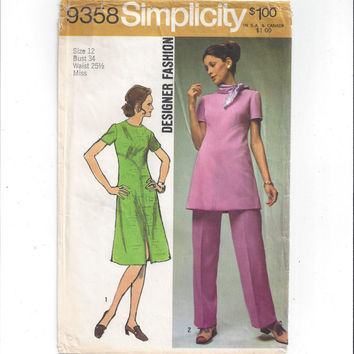 Simplicity 9358 Pattern for Misses' Dress, Tunic, Pants, Designer Fashion, Vintage Pattern, Size 12, from 1971, Classic Pantsuit Pattern