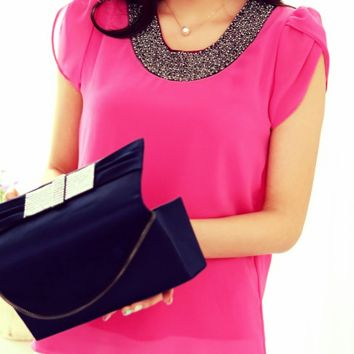 Embroided Chiffon Blouse - Pink