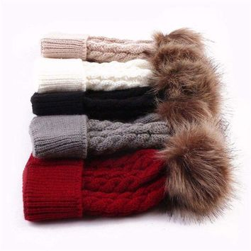 Winter Women's Kid Knitted Warm Chunky Knit With Big Fur Pom Pom Beanie Hats Cap