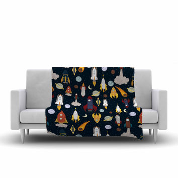 "Stephanie Vaeth ""Rockets"" Celestial Pattern Fleece Throw Blanket"