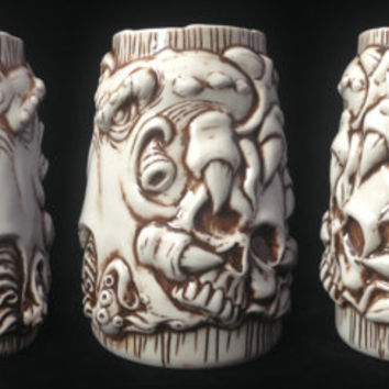 CTHULHU BEER MUG, Handmade, Lovecraft, Ceramic, Sculpted Relief Decoration, Tableware