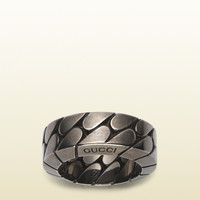 wide silver chain ring 345398J84008110