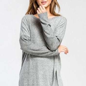 Flowy Sweater Tunic - Heather Gray